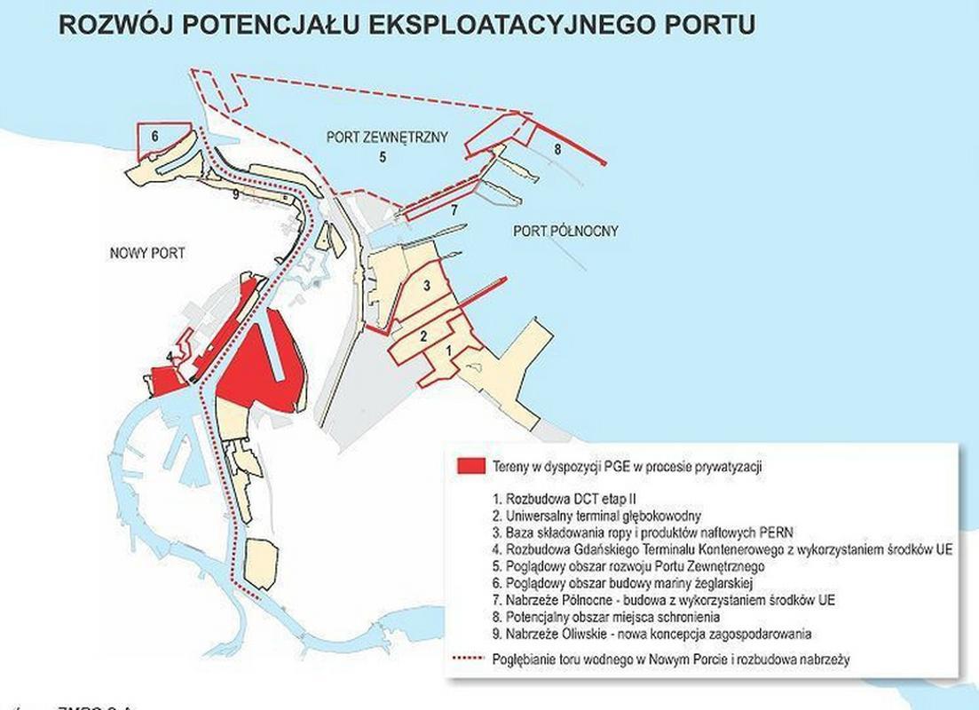 Mapa możliwych inwestycji Centralnego Portu w Gdańsku