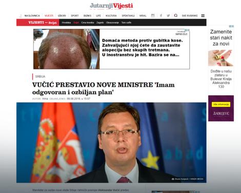 """Naslov na portalu """"Jutarnjeg lista"""""""