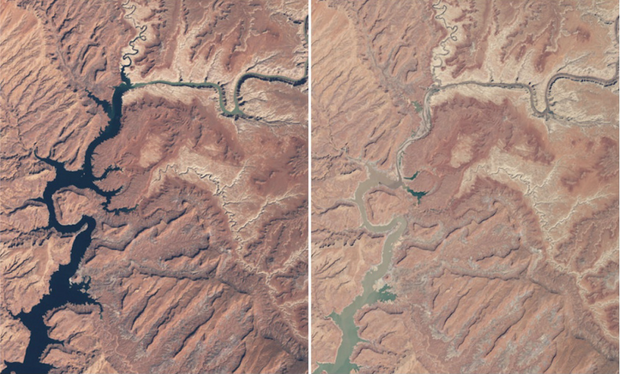Powell Lake v marci 1999 vs. v máji 2014. (Foto: NASA)