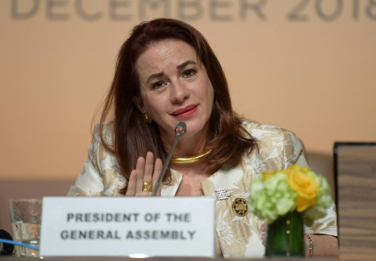 President of the UN General Assembly (PGA), Ms Maria Espinosa (AFP)