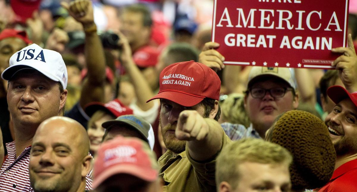 US President Donald J. Trump holds a rally in Southaven, Mississippi