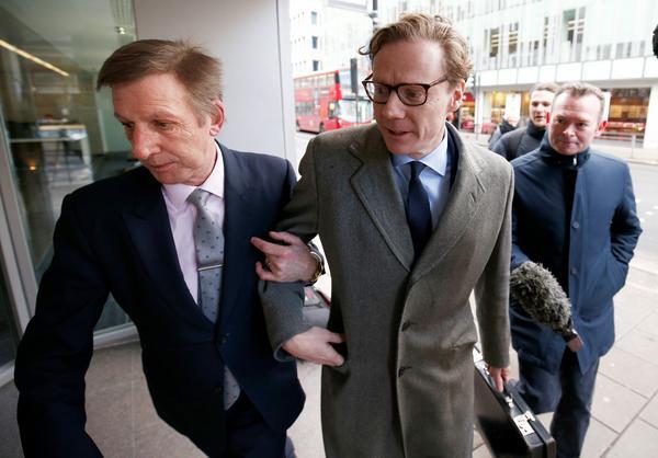 Alexander Nix, CEO of Cambridge Analytica arrives at the offices of Cambridge Analytica in central L