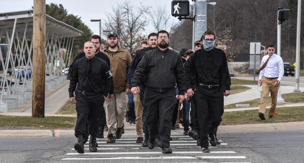 Members of the alt-right including Matthew Heimback from the Traditionalist Workers Party arrive ont