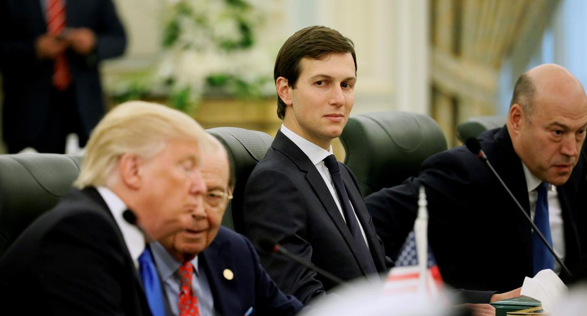 FILE PHOTO - Kushner sits alongside Trump and Ross as they prepare to meet with Saudi Arabia's King