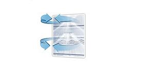 All-around Cooling Zimne powietrze wydmuchiwane przez liczne otwory znajdujące się na poziomie każdej półki zapewniają jego równomierne rozprowadzenie po każdym zakamarku. Dzięki temu temperatura wewnątrz lodówki w każdym jej miejscu jest stała.