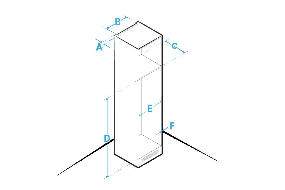 A Szerokość: 40 mmB Głębokość: 500 mmC Wysokość: min. 560 mmD Szerokość: min. 1780 mmE Głębokość: min. 562, maks. 570F Wysokość: maks. 19 mm.