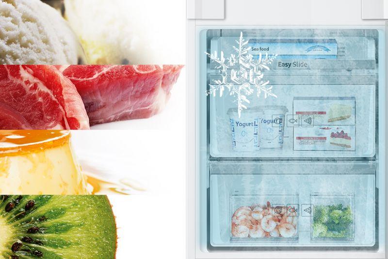 Szybkie zamrażanie produktów. Power Freeze Wciśnij przycisk Power Freeze i przytrzymaj go przez 3 sekundy, by aktywować intensywne zamrażanie. Funkcja ułatwia i przyspiesza zamrażanie dużej ilości żywności. Jest aktywna przez 50 godzin i przez ten czas w zamrażarce będzie się utrzymywać minimalna temperatura.