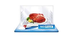 No Frost Żywność dłużej zachowuje świeżość, smak i wartości odżywcze. Koniec z uciążliwym i pracochłonnym rozmrażaniem - brak lodu w zamrażarce oznacza, że raz na jakiś czas trzeba ją będzie tylko przetrzeć. Łatwiej utrzymać czystość - brak wilgoci eliminuje problem osadu i namnażających się bakterii.