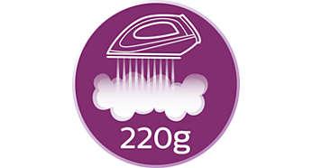 Silne uderzenie pary do 220g -- rozprasowywanie najbardziej opornych zagnieceń