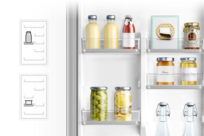 Łatwa, samodzielna regulacja. Pojemniki na drzwiach Przechowywanie nigdy nie było tak łatwe! Umieść pięć pojemników w drzwiach lodówki tak, by swobodnie przechowywać produkty o różnej wielkości. Wykorzystaj miejsce w drzwiach, zwalniając tym samym miejsce na półkach.
