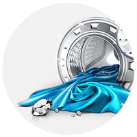 Bęben Diamond(TM)Dba o delikatne tkaniny Wnętrze bębna Diamond składa się z wyprofilowanych otworów, o kształcie zbliżonym do diamentu. Są one o 43% mniejsze, niż w pralce z tradycyjnym bębnem, i zabezpieczają Twoje ubrania przed uszkodzeniami. Możesz w nim prać nawet delikatne tkaniny.