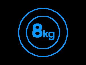 8kg ładowności Ładowność 8 kg  8 kg umożliwia wypranie dużej ilości ubrań w jednym cyklu, a także pojedyncze większe rzeczy, jak np. poduszki czy niezbyt gruba kołdra. Łatwo obsłuży rodzinę 2+2 lub z małym dzieckiem.