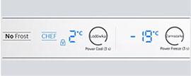 Wbudowany wyświetlacz LED  Łatwy w obsłudze wyświetlacz umieszczony wewnątrz lodówki umożliwia sterowanie temperaturą i trybami pracy.