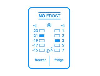 Elektroniczne sterowanie   Estetyczny panelNiebieski wyświetlacz i przyciski sterujące LED nadają drzwiom lodówki elegancki i nowoczesny wygląd. Obsługa panelu jest niezwykle prosta i intuicyjna.