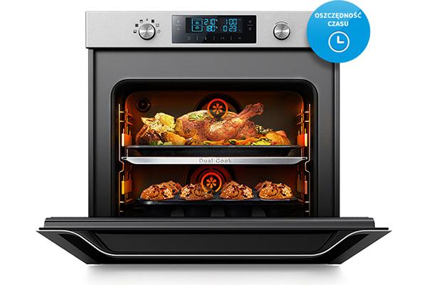 Oszczędność czasuPiecz dwie różne potrawy w tym samym czasie. Podział piekarnika na dwie oddzielne strefy znacząco skraca czas, jaki poświęcasz na gotowanie.