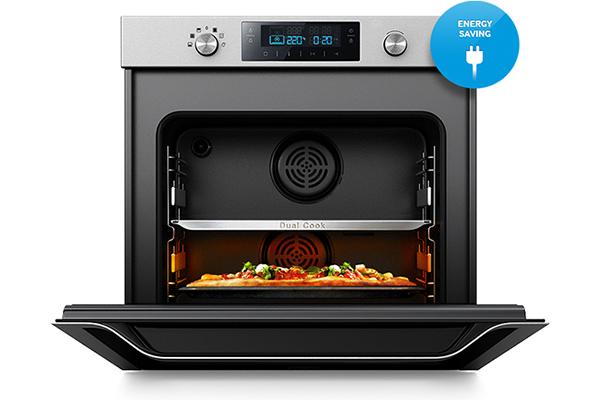 Oszczędność energiiMożliwość podgrzania tylko jednej komory piekarnika, bez konieczności używania jego pełnej pojemności, zmniejsza zużycie energii.