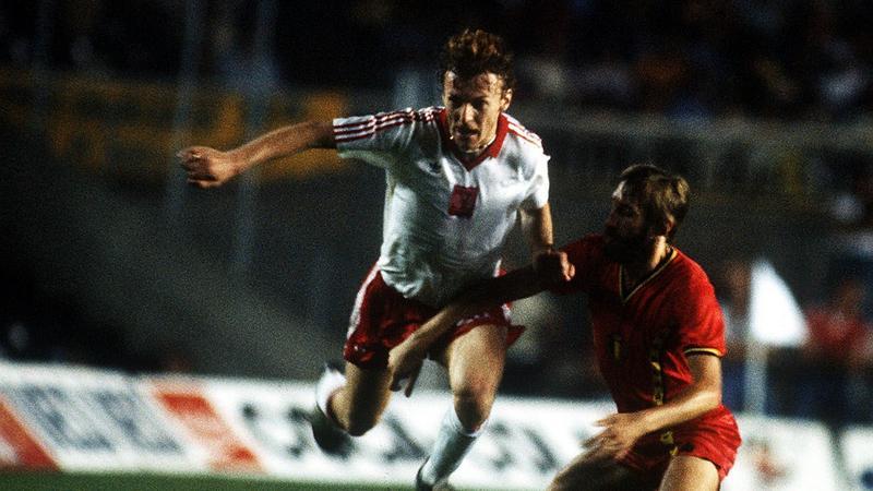 Zbigniew Boniek w meczu z Belgią