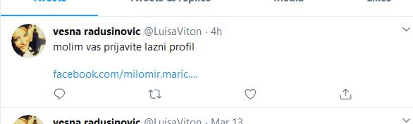 Vesna Radusinović poziva pratioce da prijave lažni profil Milomira Marića