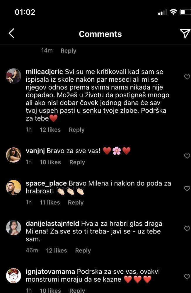 Ređaju se brojne poruke podrške za Milenu, što od kolega, što od njenih pratilaca i prijatelja i brojnih javnih ličnosti