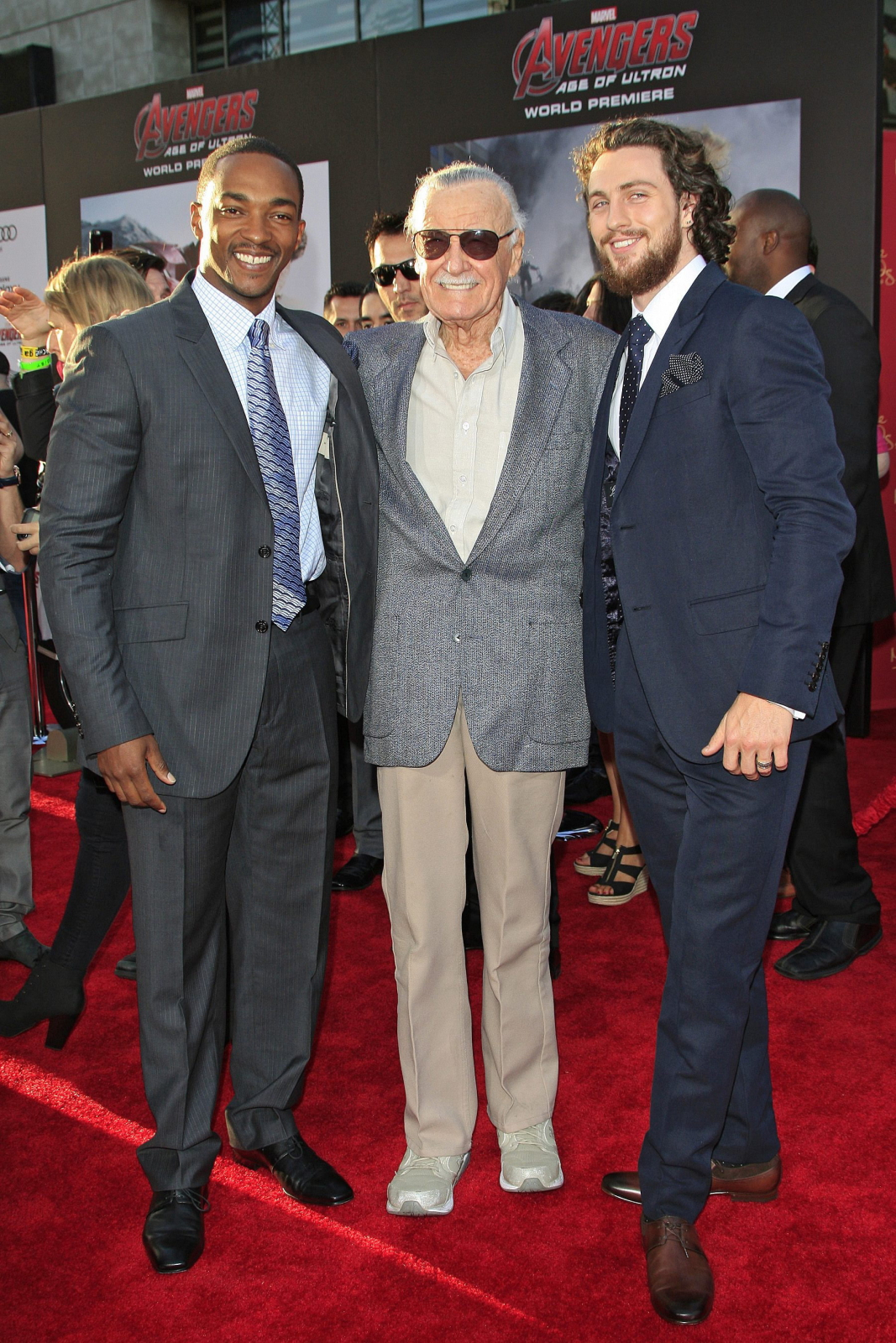 Anthony Mackie, Stan Lee i Aaron Taylor-Johnson na premierze filmu