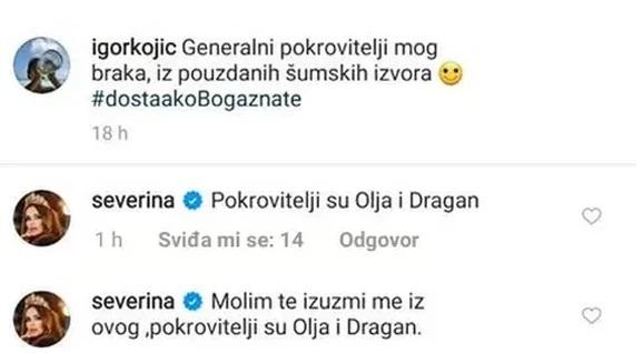 Igor i Severina Kojić, Instagram prepiska