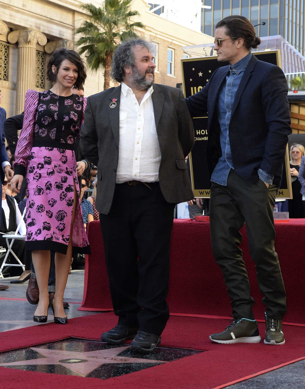 Evangeline Lilly, Orlando Bloom i Peter Jackson