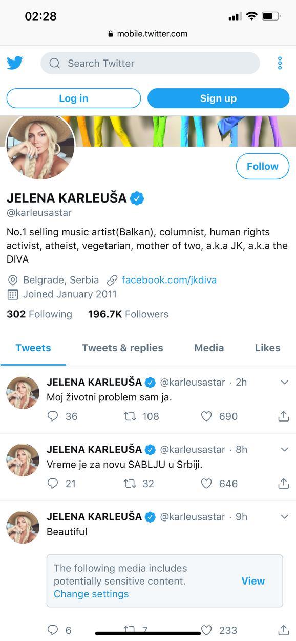 Tviter nalog Jelene Karleuše