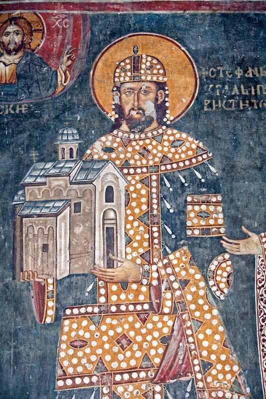 Kralj Dragutin Nemanjic, ktitorski portret, Crkva Svetog Ahilija u Arilju, kraj 13. veka