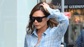 Victoria Beckham w niebieskim komplecie w kratkę na ulicy. Nadal wygląda modnie?