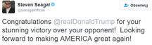 Gwiazdy reagują na wygraną Donalda Trumpa: Steven Seagal na Twitterze