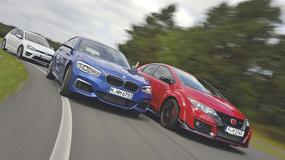 Sportowe kompakty w starciu na torze: Honda Civic Type R Turbo, BMW M135i, VW Golf R