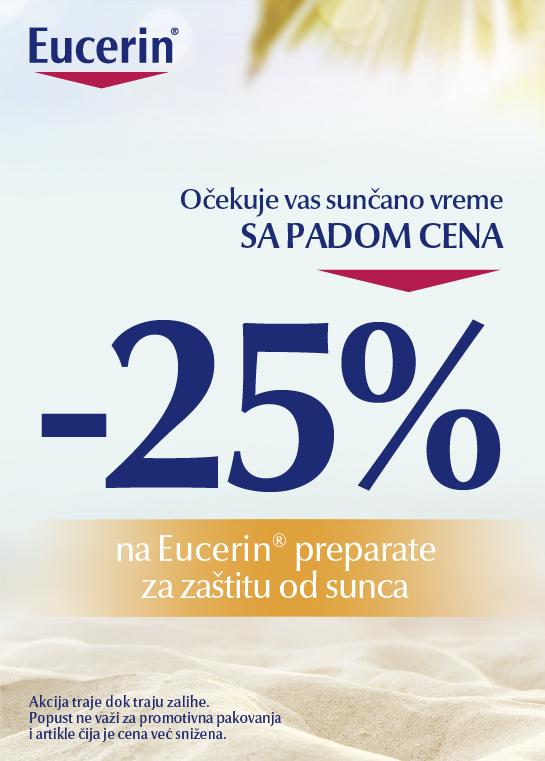 Eucerin® preparate za zaštitu od sunca, poznate po efikasnosti i pouzdanosti, sada možete nabaviti po ceni sniženoj 25%