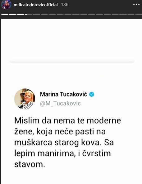Milica Todorović objavila citat Marine Tucaković