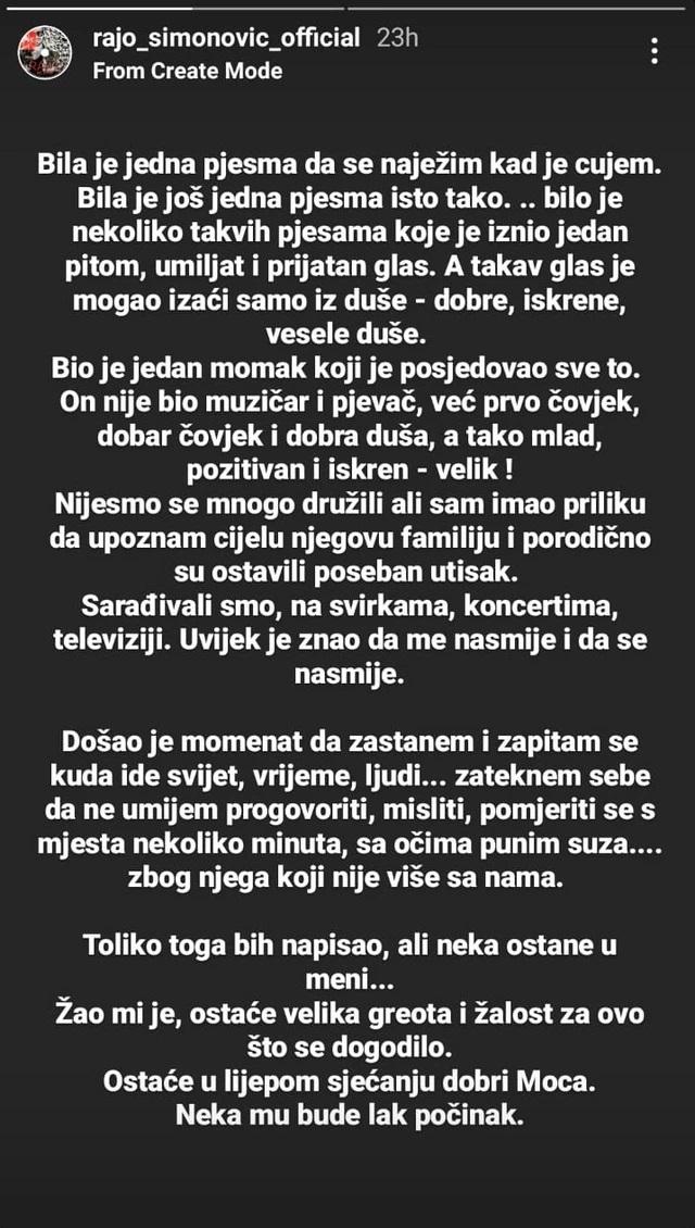 Objava Raja Simonovića