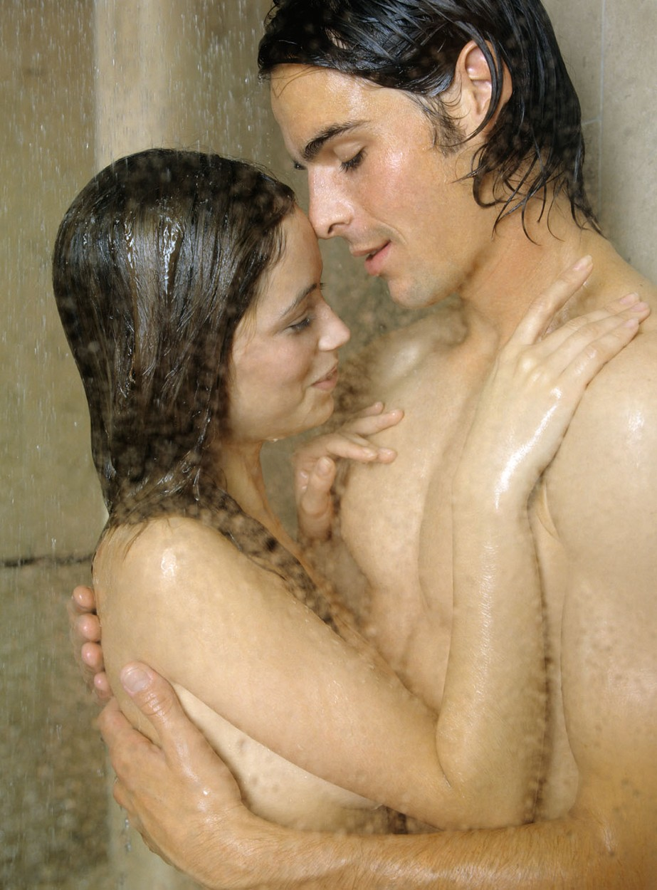 Showering together naked couple, nude art audrey