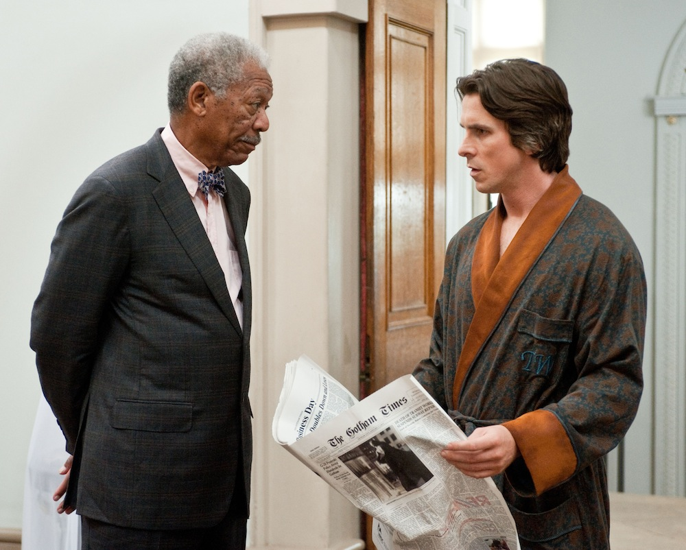 Morgan Freeman i Christian Bale w filmie