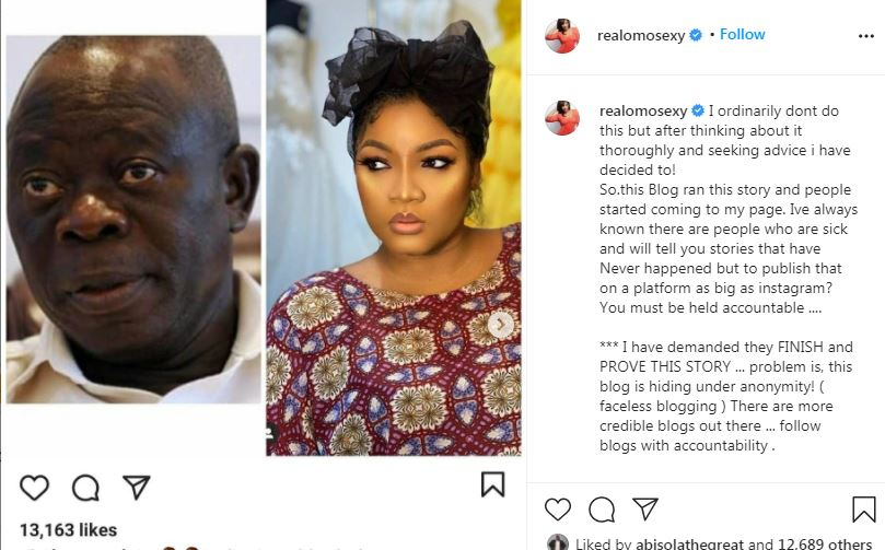 The actress is demanding that the blogger behind the story produce receipts to the alleged affair. [Instagram/OmotolaJaladeEkeinde]