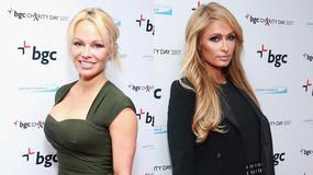 Pamela Anderson z imponującym dekoltem, a Paris Hilton dziwnie zaokrąglona na imprezie