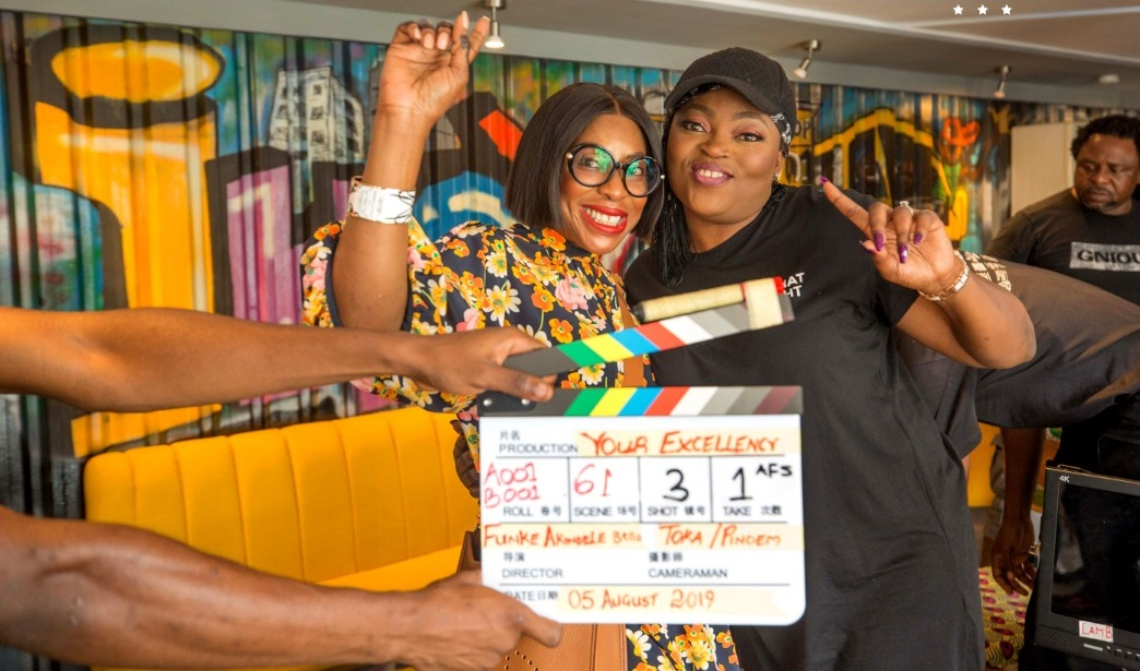 Funke Akindele-Bello on the set of 'Your Excellency' [R&B]