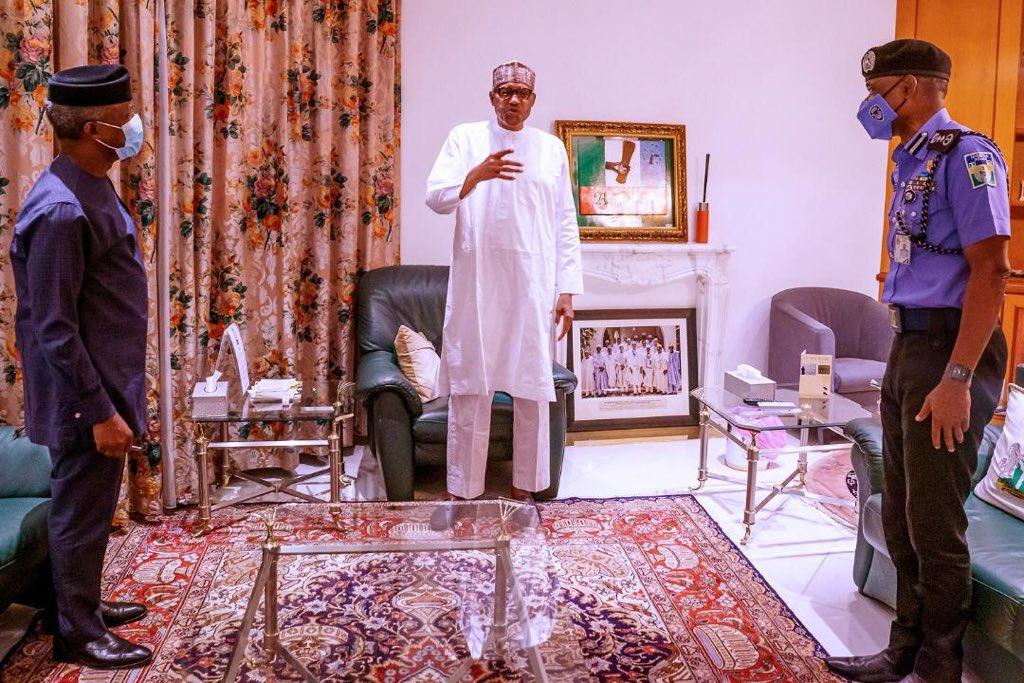 President Muhammadu Buhari receiving updates on #ENDSARS protests from Vice President, Prof Yemi Osinbajo and the Police IG, Mohammed Adamu. (MBuhari/Twitter)