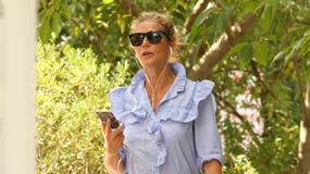 Gwyneth Paltrow w błękitnej sukience. Aktorka odsłoniła zgrabne nogi