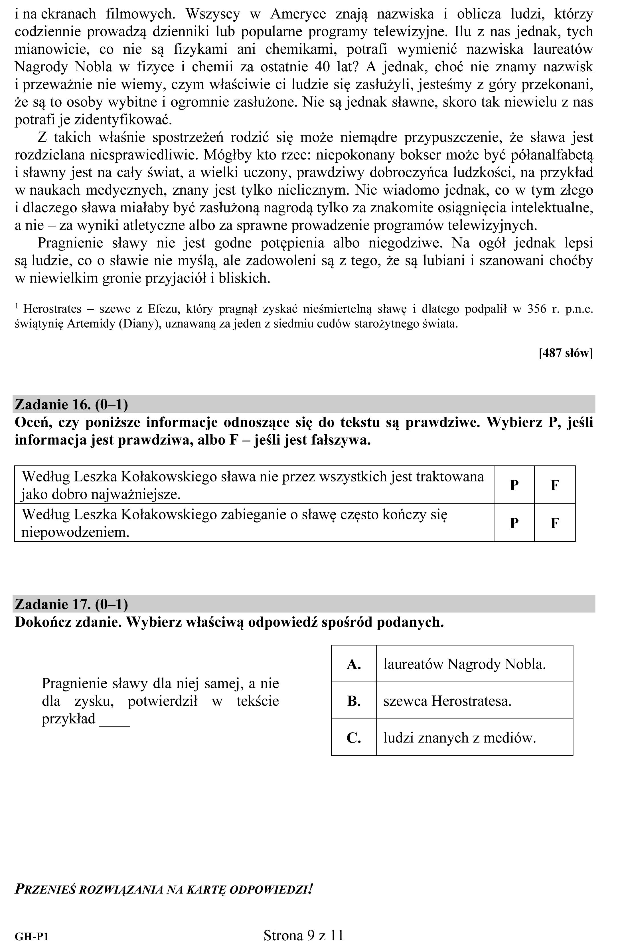Egzamin Gimnazjalny 2015 Arkusze Egzaminacyjne Odpowiedzi