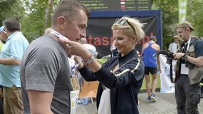 Joanna Racewicz, Karol Strasburger, Krzysztof Wieszczek i Urszula Dębska na imprezie biegowej