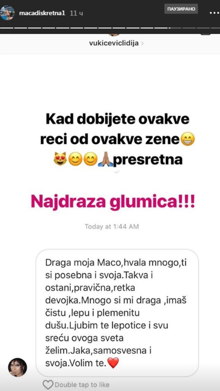 Lidija Vukićević pohvalila Macu Diskreciju
