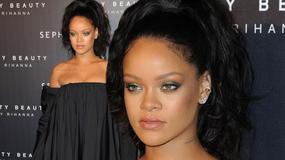 Rihanna znów w dziwnej stylizacji na paryskiej premierze swojej kolekcji. Co ona na siebie włożyła?