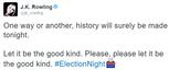 Gwiazdy reagują na wygraną Donalda Trumpa: J.K.Rowling na Twitterze