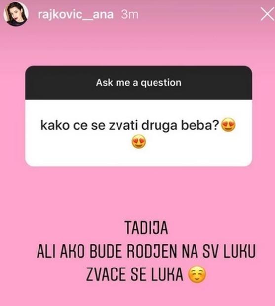 Ana Rajković o imenu drugog deteta