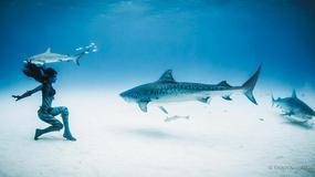 Modelka pływa z groźnymi żarłaczami - niezwykłe zdjęcia