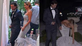 Zjawiskowa srebrna suknia ślubna Rozenek. Pojawił się jednak mały problem...