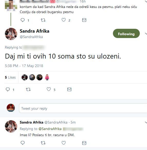Sandra se svađa sa tviterašem